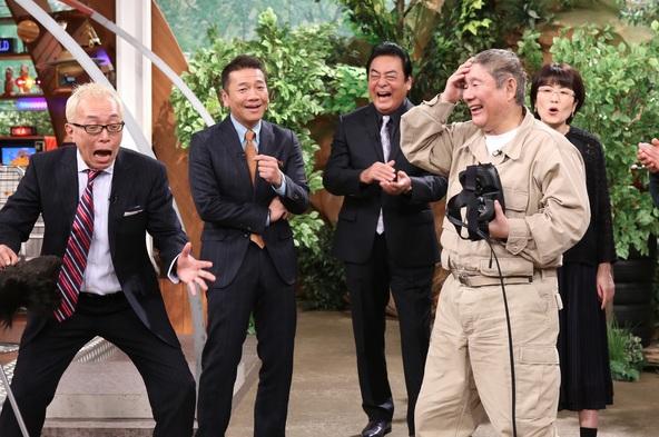 『世界まる見え!テレビ特捜部』左から:所ジョージ、上田晋也、高橋英樹、ビートたけし、光浦靖子 (c)NTV