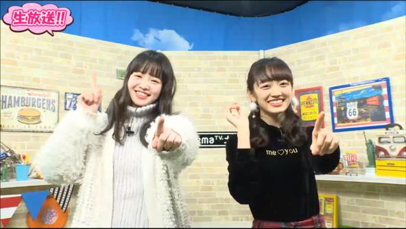 """""""恋ダンス""""を生披露した、横田真悠、下村実生 (c)AbemaTV"""