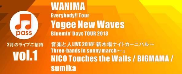 WANIMA、Yogee New Wavesの各ライブツアー、NICO・BIGMAMA・sumika3組出演イベントに抽選で無料招待!
