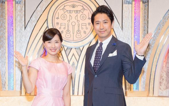 『うたコン』〈MC〉谷原章介、小郷知子アナウンサー (c)NHK