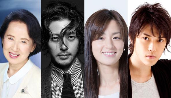 「水ドラ!!」第一弾「おかしの家」に出演する、(左から)八千草薫、オダギリジョー、尾野真千子、勝地涼