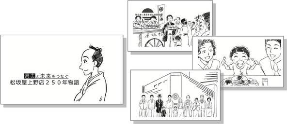 """松坂屋上野店の250年の歴史をつづる""""パラパラ漫画ムービー""""完成!「江戸冬 未来も、粋に。」"""