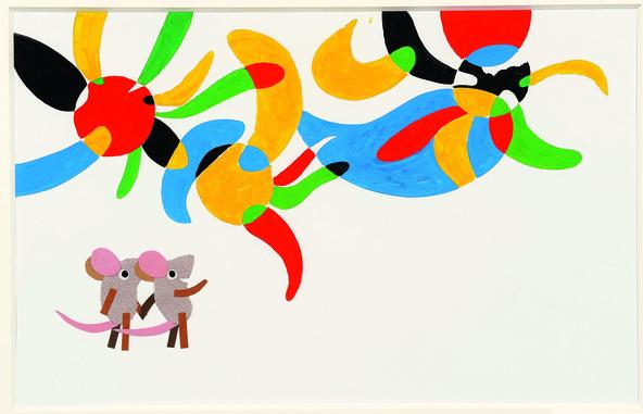 「マシューのゆめ」 1991年 鉛筆、水彩、コラージュ、紙 51×63.6cm Matthew' s Dream (C)1991  (c)by Leo Lionni / Knopf Works by Leo Lionni, On Loan By The Lionni Family