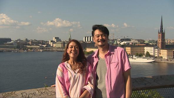 『世界ふしぎ発見!』結婚式の為にストックホルムを訪れたLiLiCoと小田井涼平 (c)TBS