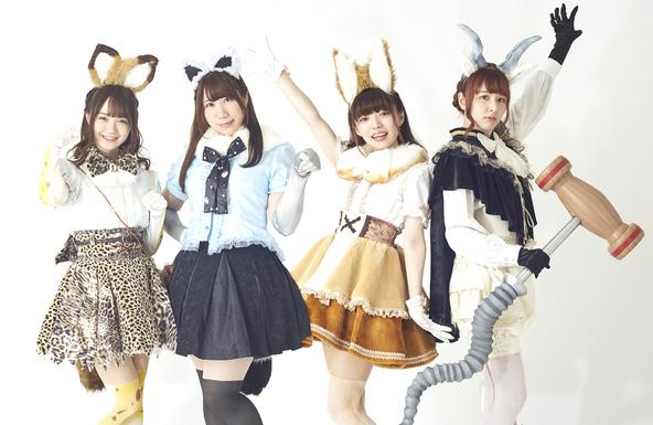 左からサーバル役尾崎由香 アライグマ役小野早稀 ドール役和泉風花 ブラックバック役未来みき