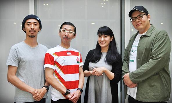 (左から)村角ダイチ、ボブ・マーサム(村角太洋)、春野恵子、満腹満。 (c)[撮影]吉永美和子(人物すべて)
