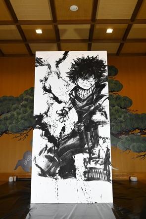 SNSで話題「僕のヒーローアカデミア」水墨画ライブペインティング開催!! (1)