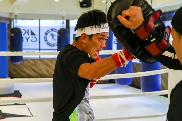 11月24日(日)『K-1 WORLD GP 2019 JAPAN ~よこはまつり~』で川原誠也と闘うK-1ファイターの皇治が公開練習を行った (C)M-1 Sports Media