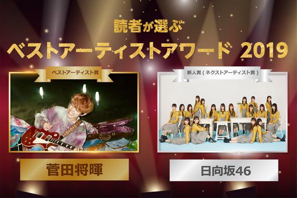 菅田将暉「すごく素直に嬉しい」日向坂46「いつも応援頂いている皆さんのおかげ」読者が選ぶ「ベストアーティストアワード2019」受賞