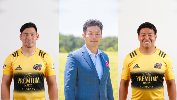 左から 中村亮土選手、廣瀬俊朗氏、北出卓也選手