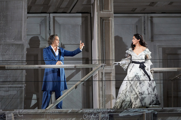 Erwin Schrott as Don Giovanni and Myrto Papatanasiu as Donna Elvira in Don Giovanni  (C) ROH 2019 Photographed by Mark Douet