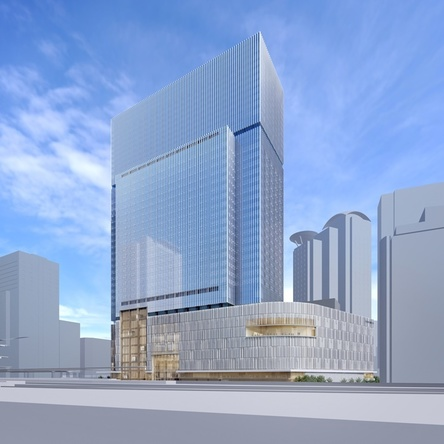 「梅田3丁目計画(仮称)」 完成予想図 、右下が劇場部分