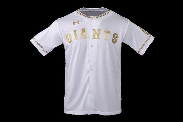 胸の「GIANTS」の文字、襟元と袖のラインが金色でプリントされた「ゴールドユニホーム」