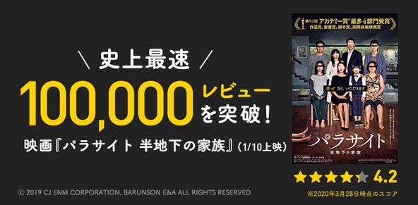 映画『パラサイト 半地下の家族』Filmarks史上最速で10万レビューを突破! (1)