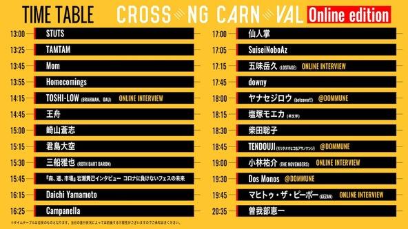 『CROSSING CARNIVAL'20 -online edition-』タイムテーブル