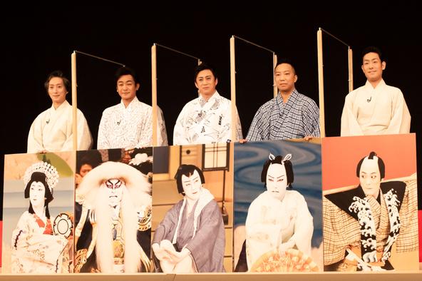 『八月花形歌舞伎』製作発表記者会見。左から、中村七之助、片岡愛之助、松本幸四郎、市川猿之助、中村勘九郎。