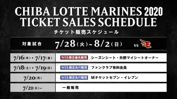 7月28日(火)~8月2日(日)の東北楽天ゴールデンイーグルス戦におけるチケット販売スケジュール