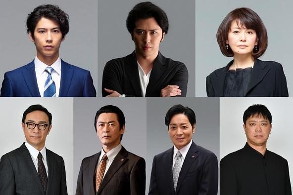 (上段左から)賀来賢人、尾上松也、南野陽子 (下段左から)角田晃広、佃典彦、山崎銀之丞、土田英生