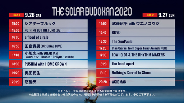 THE SOLAR BUDOKAN 2020 タイムテーブル