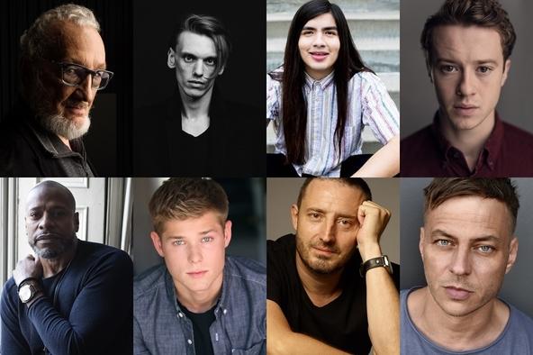 上段左から:ロバート・イングランド、ジェイミー・キャンベル・バウアー、 エドゥアルド・フランコ、ジョセフ・クイン   (c)下段左から:シャーマン・オーガスタス、メイソン・ダイ、 二コラ・ジュリコ、トム・ヴラシア