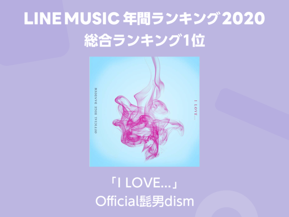 総合ランキング1位はOfficial髭男dism「I LOVE...」、YOASOBI「夜に駆ける」が3部門で1位を獲得【LINE MUSIC 年間ランキング2020】