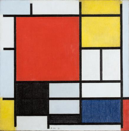 ピート・モンドリアン《大きな赤の色面、黄、黒、灰、青色のコンポジション》1921年 油彩、カンヴァス デン・ハーグ美術館 Kunstmuseum Den Haag
