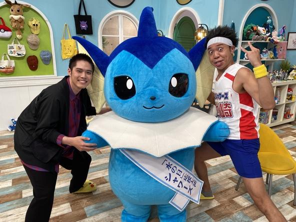 8月1日は「水の日」! シャワーズがポケんちにやってきた!! サンシャイン池崎、細田佳央太と一緒に水中で伝言ゲーム!? (C)TV Tokyo・Pokemon・ShoPro (C)Nintendo・Creatures・GAME FREAK・TV Tokyo・ShoPro・JR Kikaku (C)Pokemon (C)2021 Pokemon. (C)1995-2021 Nintendo/Creatures Inc. /GAME FREAK inc.